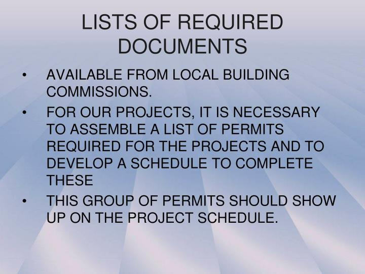 LISTS OF REQUIRED DOCUMENTS