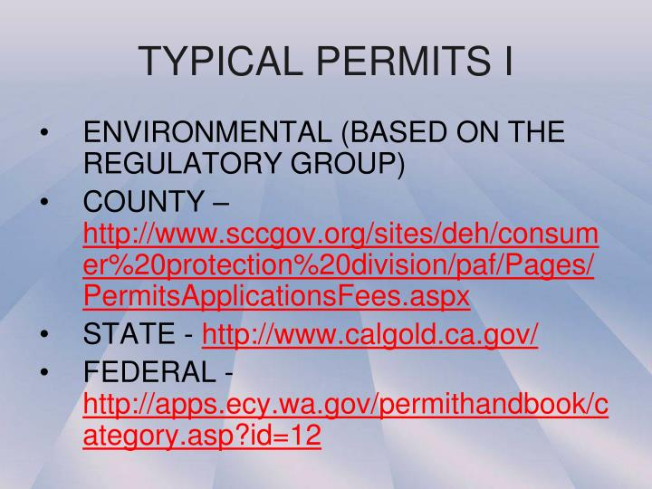 TYPICAL PERMITS I