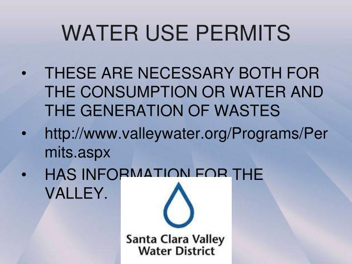 WATER USE PERMITS