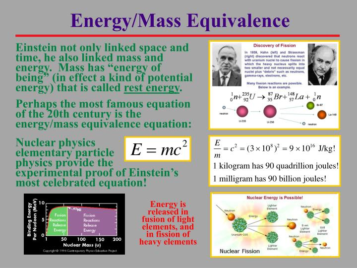 Energy/Mass Equivalence