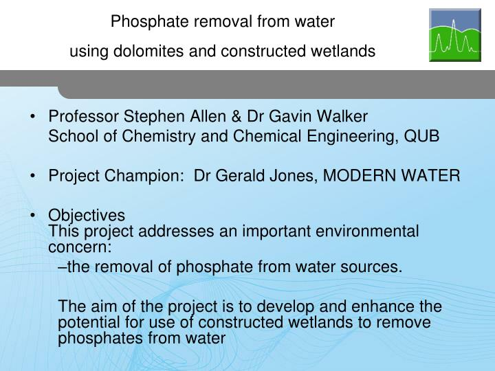 Phosphate removal from water