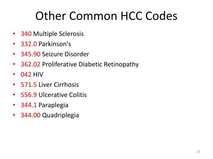Other Common HCC Codes