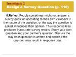 design a survey question p 110