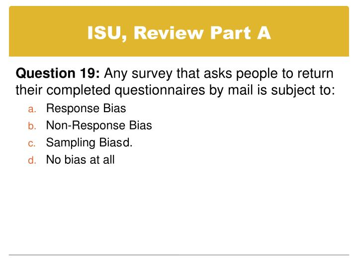 ISU, Review Part A