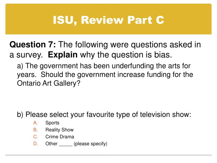 ISU, Review Part C