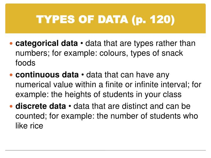 TYPES OF DATA (p. 120)