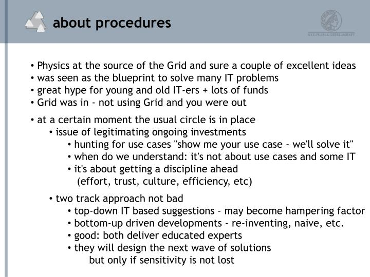 about procedures