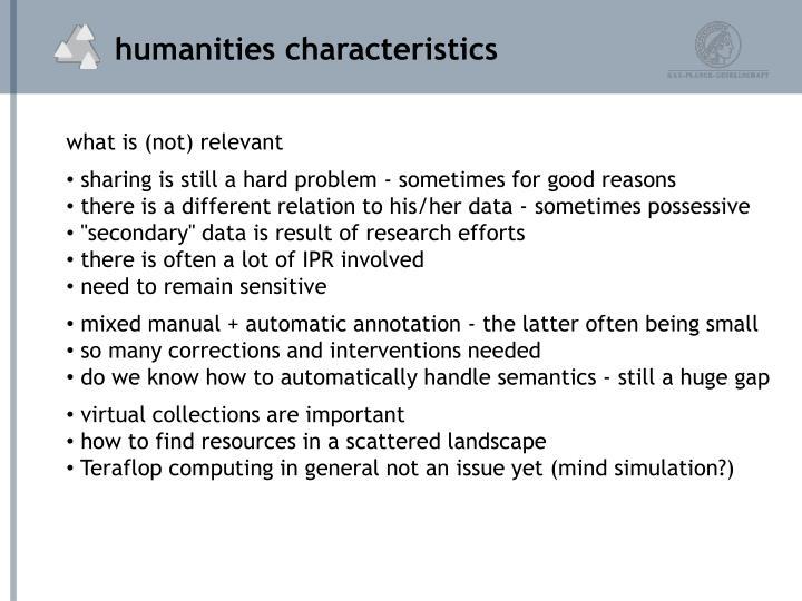 humanities characteristics
