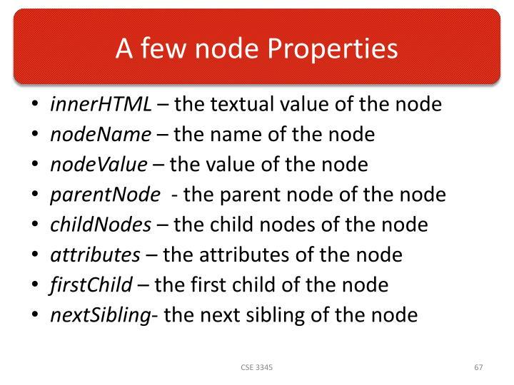 A few node Properties