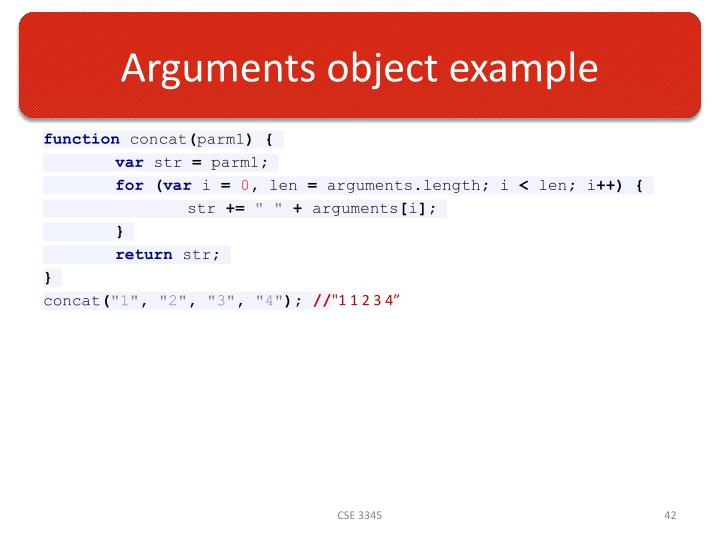 Arguments object example