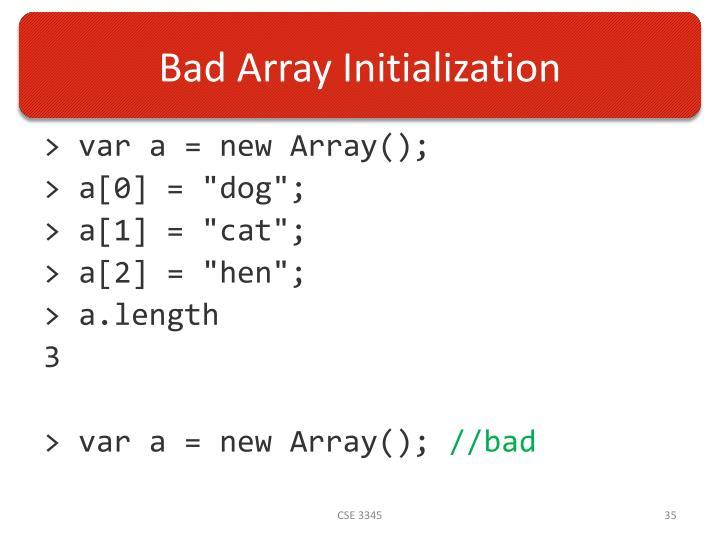 Bad Array Initialization