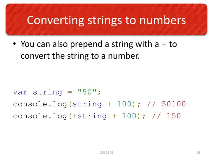 Converting strings to numbers