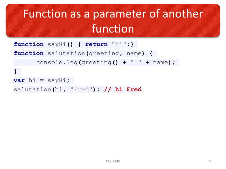 Function as a parameter of another function