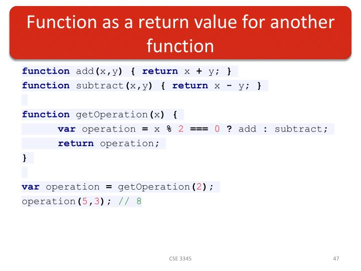Function as a return value for another function