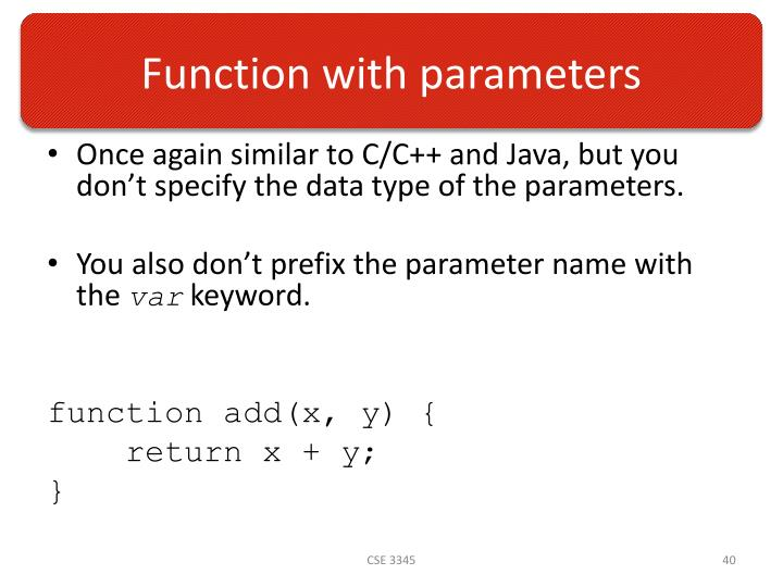 Function with parameters