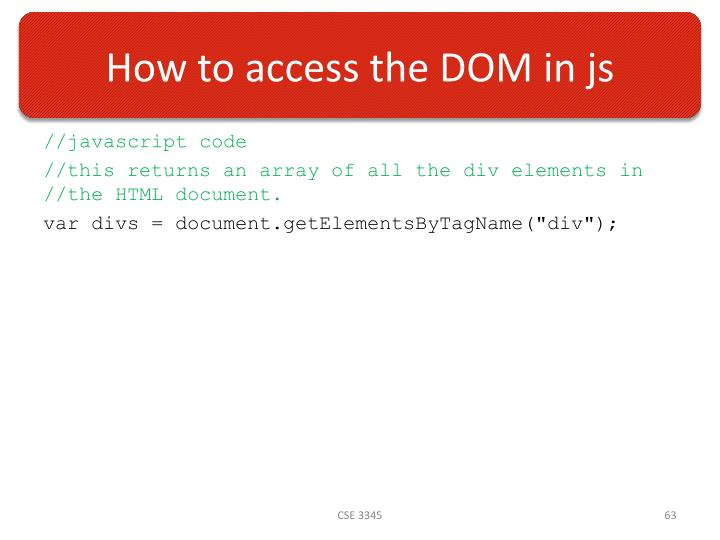How to access the DOM in