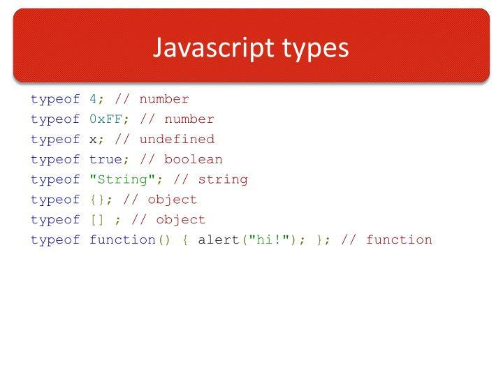 Javascript types