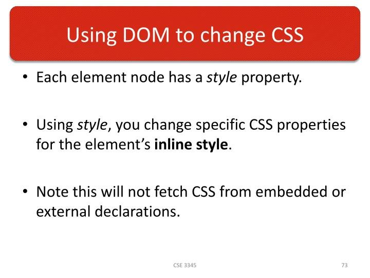 Using DOM to change CSS