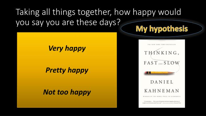 Taking all things together, how happy would you say you are these days?