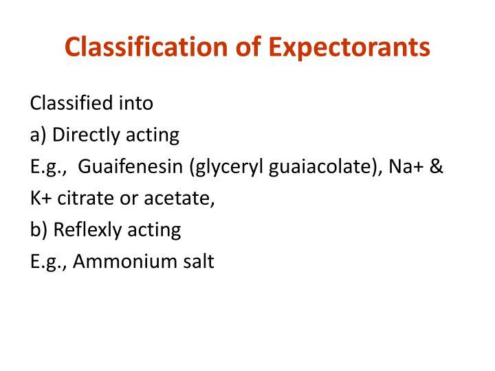 Classification of Expectorants