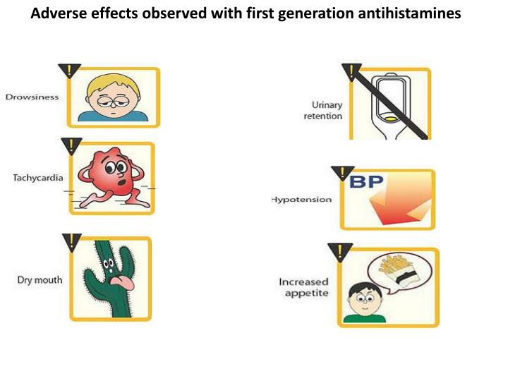 Adverse effects observed with first generation antihistamines