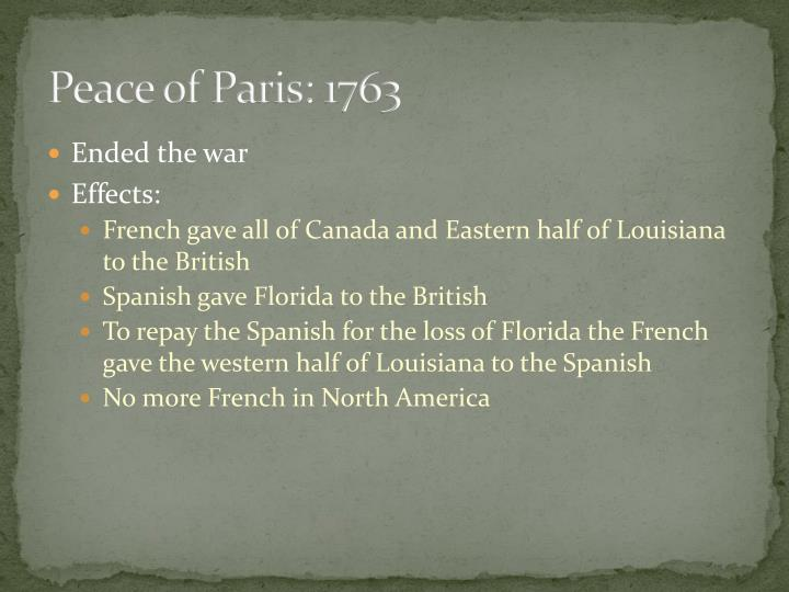 Peace of Paris: 1763