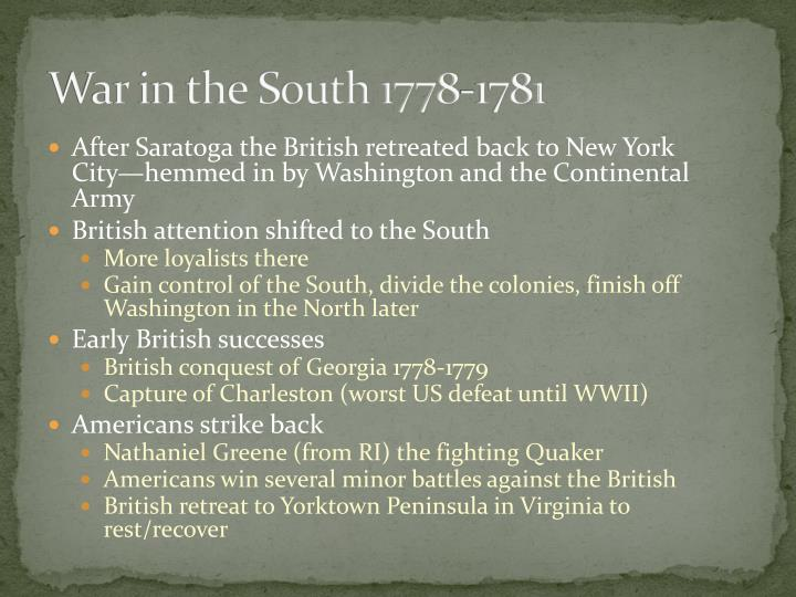 War in the South 1778-1781