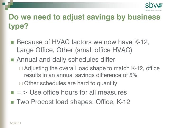 Do we need to adjust savings by business type?