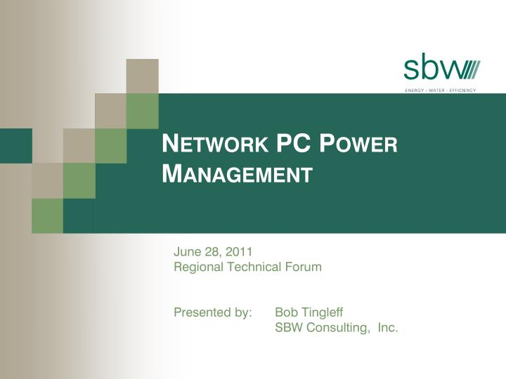 Network pc power management