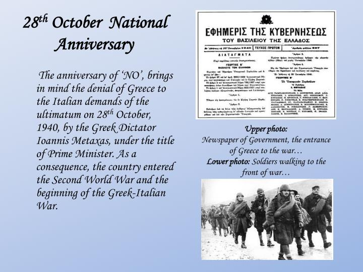 28 th october national anniversary