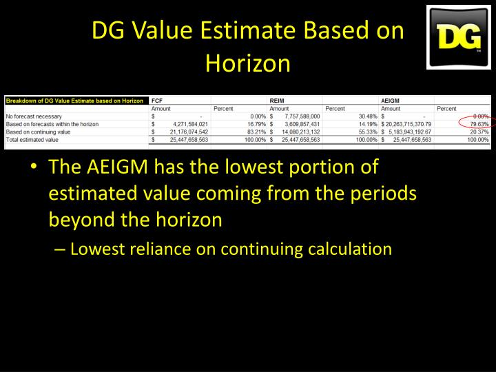 DG Value Estimate Based on