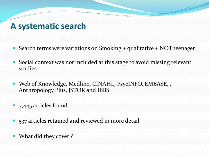 A systematic search