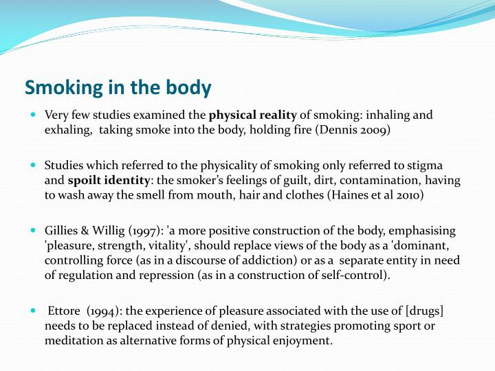 Smoking in the body