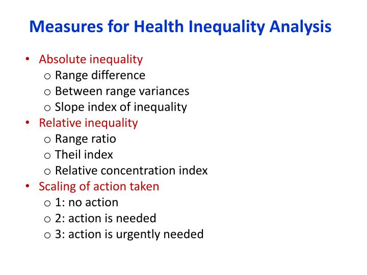 Measures for Health Inequality Analysis
