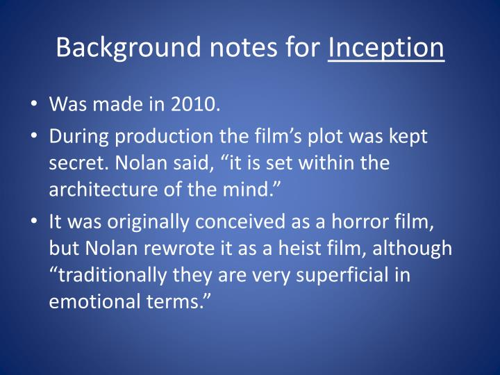 Background notes for