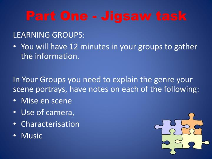 Part One - Jigsaw task