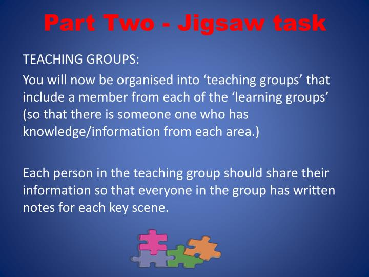 Part Two - Jigsaw task