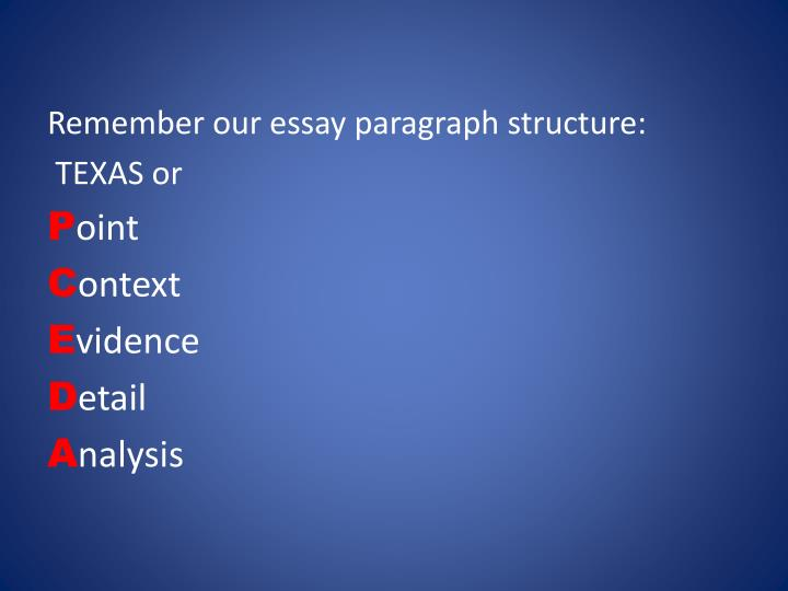 Remember our essay paragraph structure: