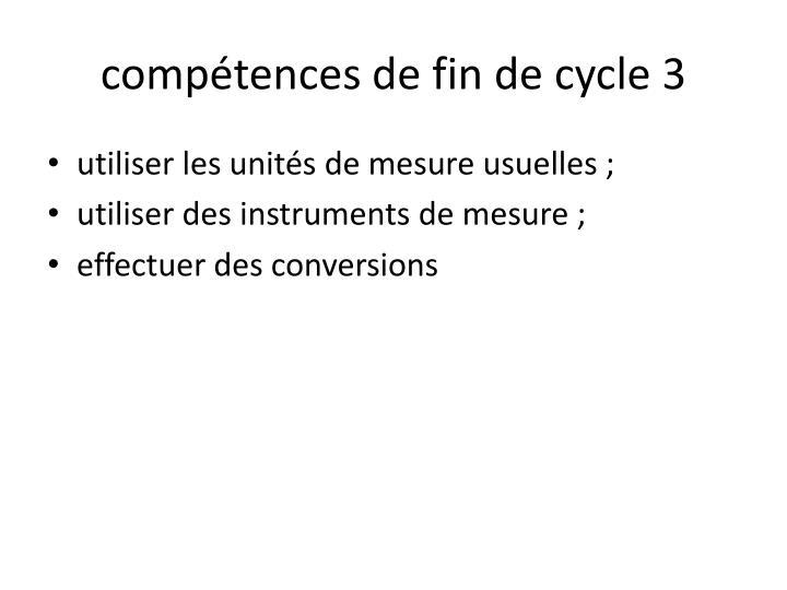 compétences de fin de cycle 3