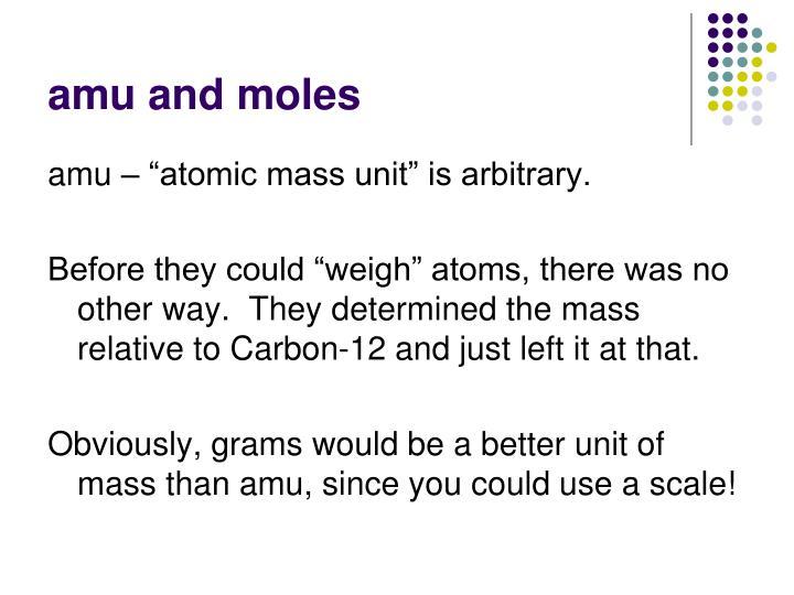 amu and moles