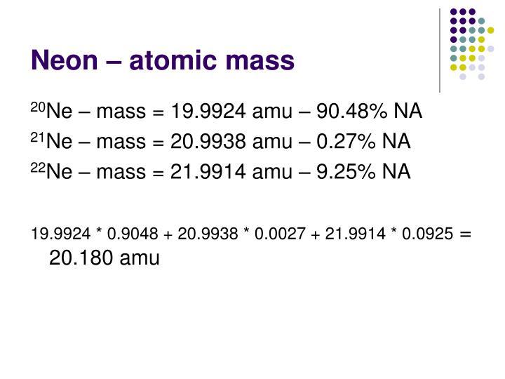 Neon – atomic mass