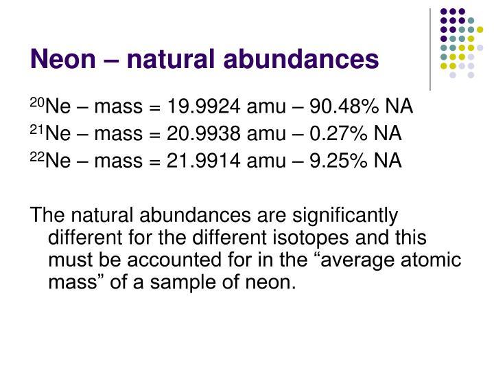 Neon – natural abundances