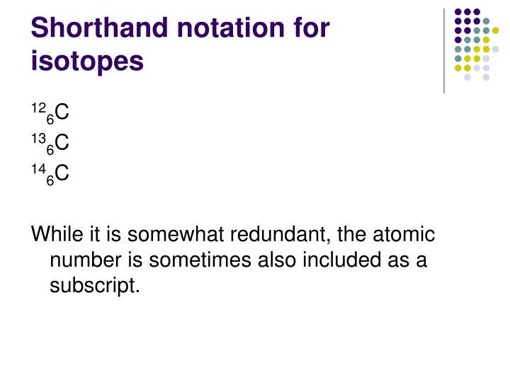Shorthand notation for isotopes