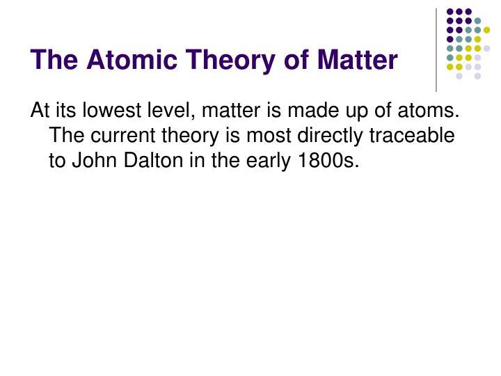The Atomic Theory of Matter