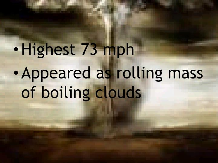Highest 73 mph