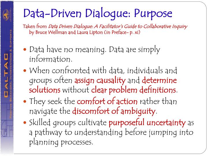 Data-Driven Dialogue: Purpose