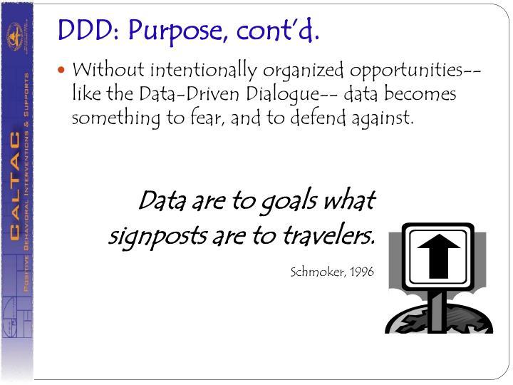 DDD: Purpose, cont'd.