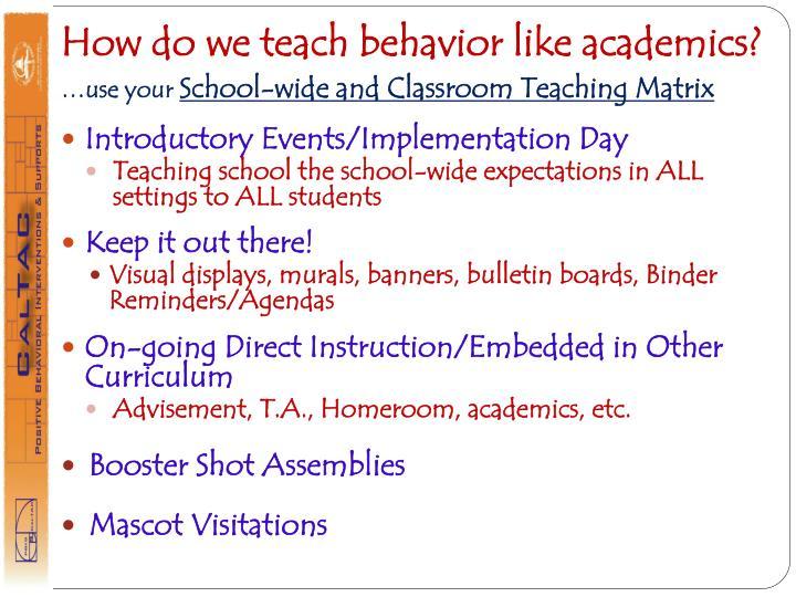 How do we teach behavior like academics?