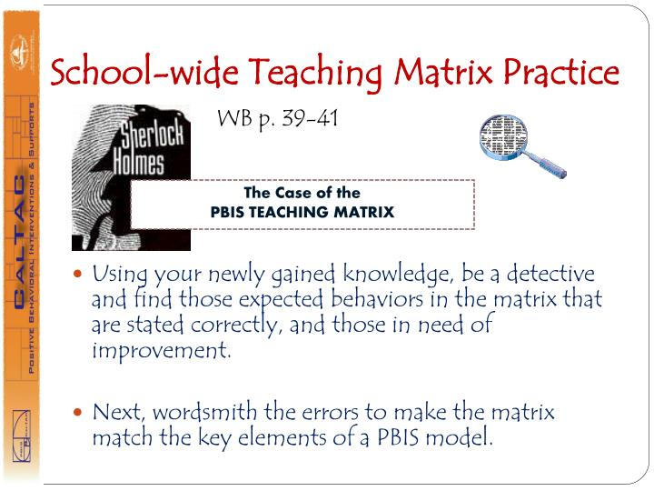 School-wide Teaching Matrix Practice