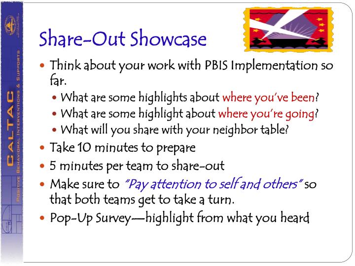 Share-Out Showcase